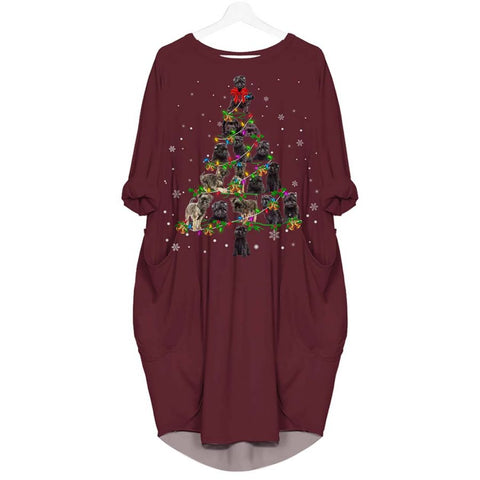 Affenpinscher Christmas Tree - Batwing Pocket Dress