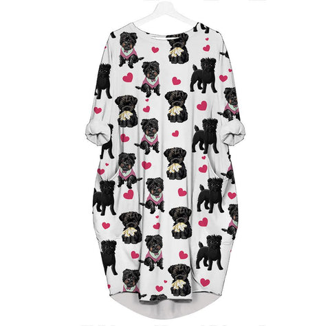 Affenpinscher-Heart - Batwing Pocket Dress