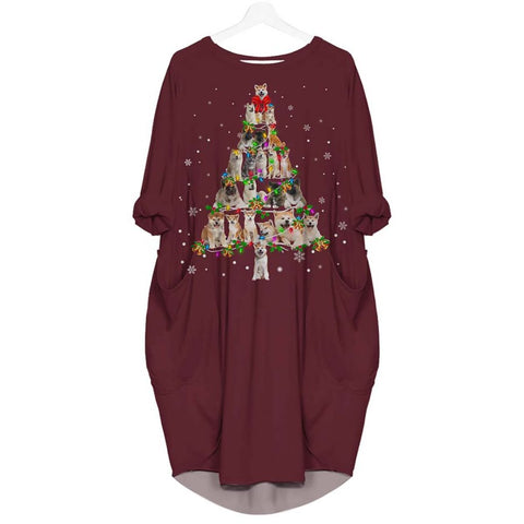 Akita Christmas Tree - Batwing Pocket Dress