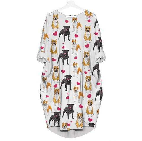 American Staffordshire Terrier-Heart - Batwing Pocket Dress