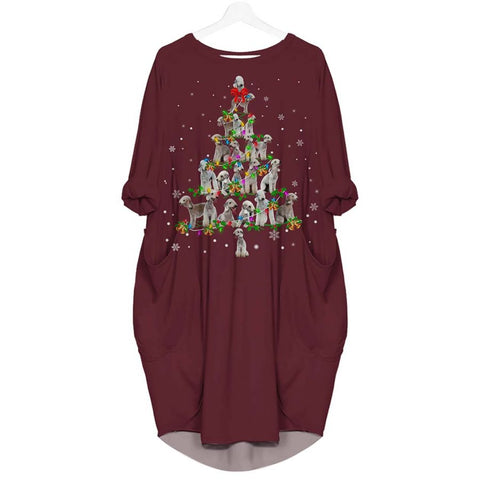 Bedlington Terrier Christmas Tree - Batwing Pocket Dress