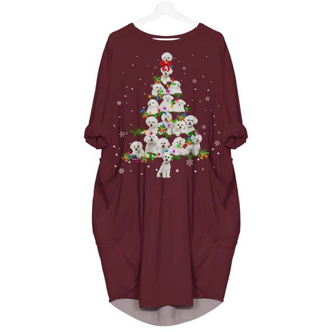 Bichon Frise Christmas Tree - Batwing Pocket Dress