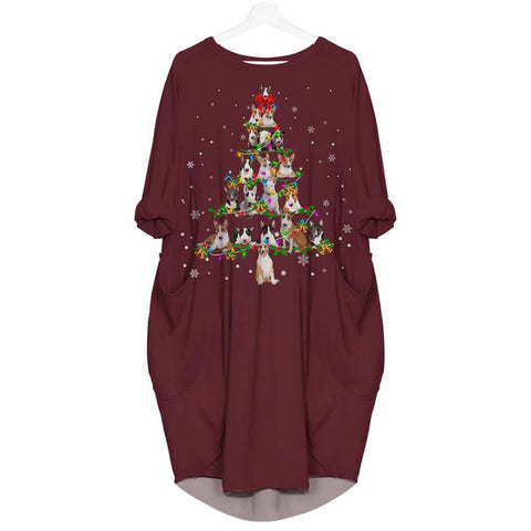 Bull Terrier Christmas Tree - Batwing Pocket Dress