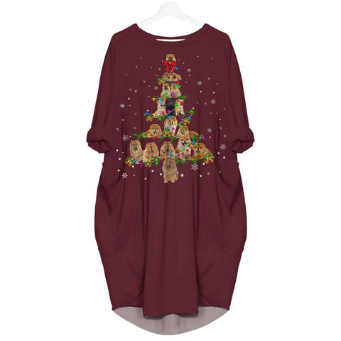 Chow Chow Christmas Tree - Batwing Pocket Dress