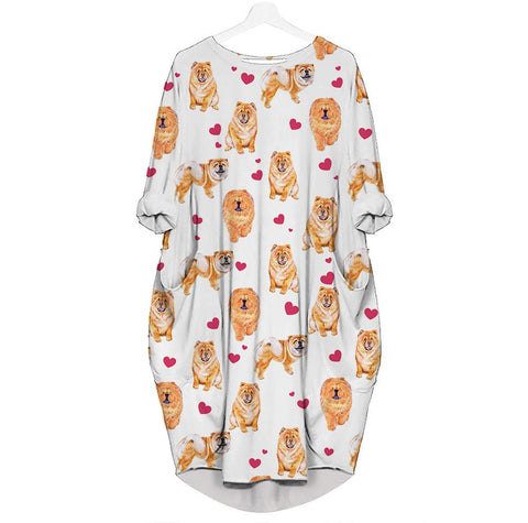 Chow Chow-Heart - Batwing Pocket Dress