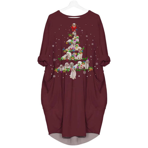 Clumber Spaniel Christmas Tree - Batwing Pocket Dress