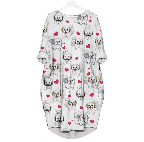 Coton De Tulear-Heart - Batwing Pocket Dress