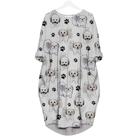 Coton De Tulear-Paw - Batwing Pocket Dress