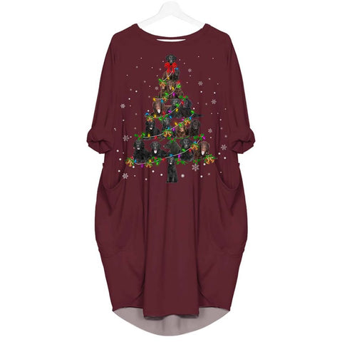 Curly Coated Retriever Christmas Tree - Batwing Pocket Dress