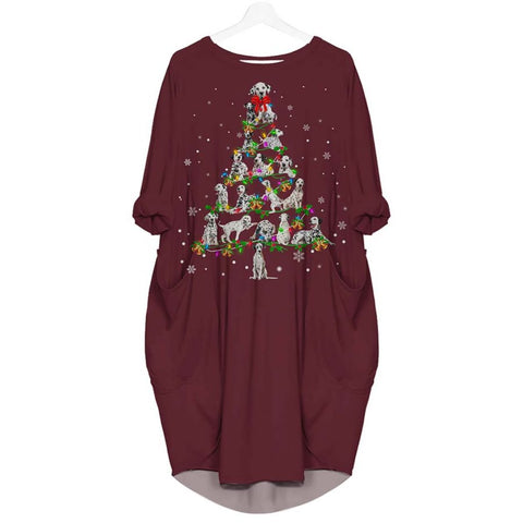 Dalmatian Christmas Tree - Batwing Pocket Dress