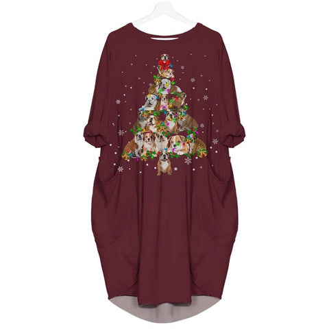 English Bulldog Christmas Tree - Batwing Pocket Dress