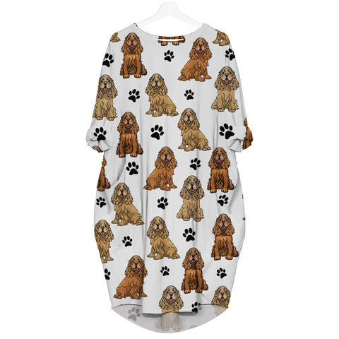 English Cocker Spaniel-Paw - Batwing Pocket Dress