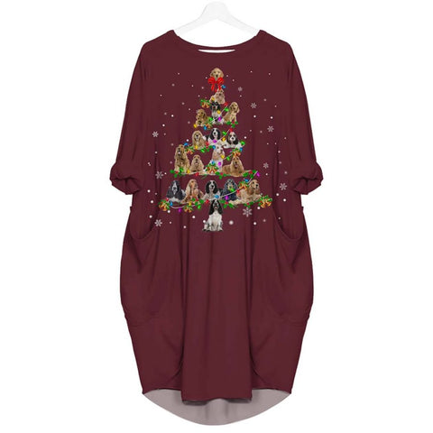 English Cocker Spaniel Christmas Tree - Batwing Pocket Dress