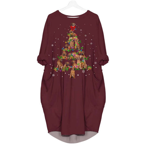 Rhodesian Ridgeback Christmas Tree - Batwing Pocket Dress