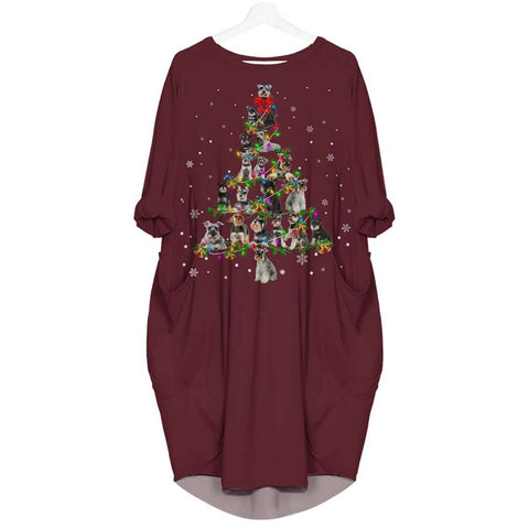 Schnauzer Christmas Tree - Batwing Pocket Dress