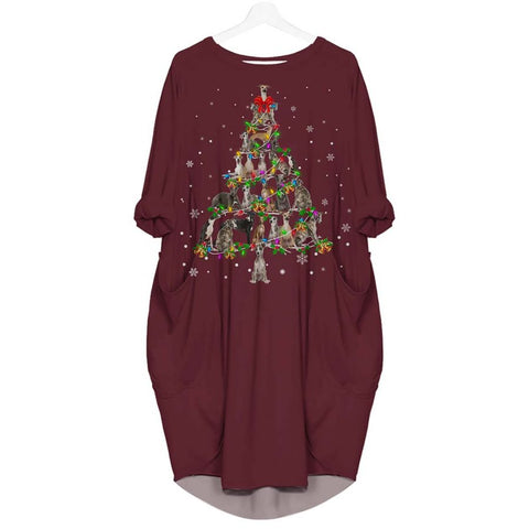 Whippet Christmas Tree - Batwing Pocket Dress