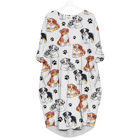 Australian Shepherd-Paw - Batwing Pocket Dress