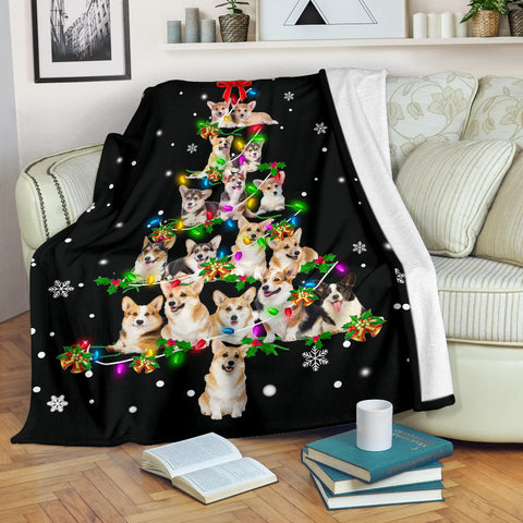 Welsh Corgi Christmas Tree Blanket