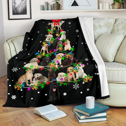Labrador Retriever Christmas Tree Blanket
