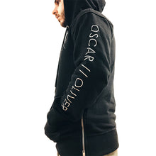 Black Pull Over Hoodie With Silver Side Zips