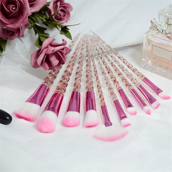 10 Piece Glitter Unicorn Horn Brush Set - The Magical Unicorn Shop