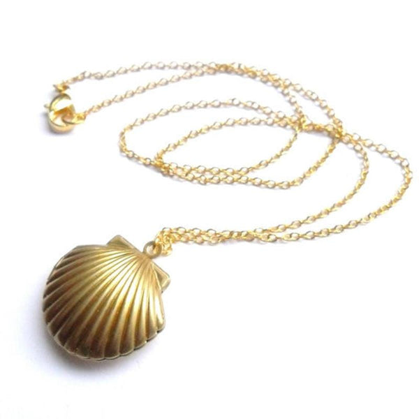 Seashell Locket Pendant Necklace