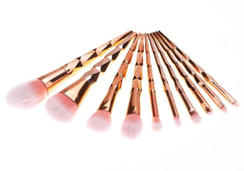10 Piece Diamond Rose Gold Makeup Brushes