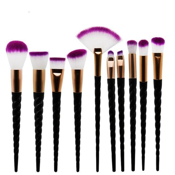 10 Piece Slay in Black Unicorn Brush Set - The Magical Unicorn Shop