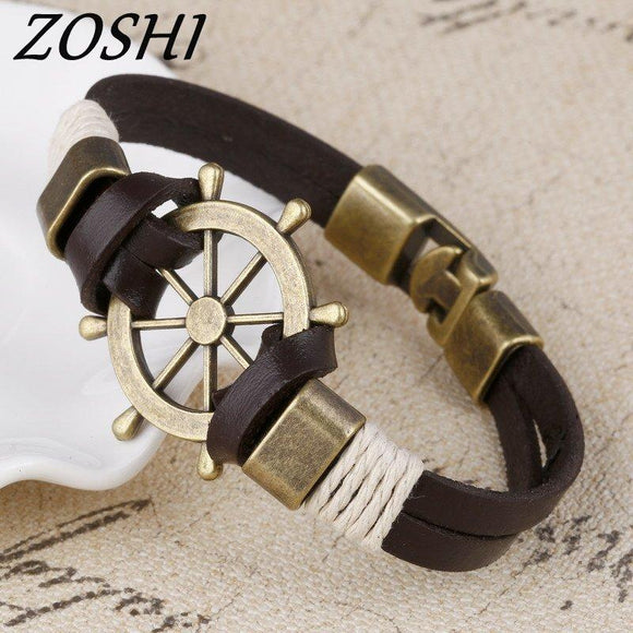 ZOSHI Wholesale Cuff braided Wrap Bracelet & Bangles Men Jewelry Pirate Genuine Leather Anchor Bracelets Vintage Men's Jewelry - Sea People Depot