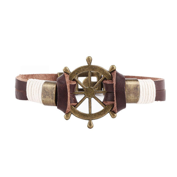 Men's Nautical Leather Stainless Steel Bracelet - Sea People Depot