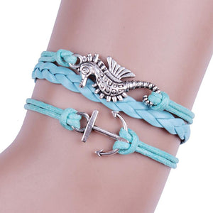Women Anchor Sea Horse Leather Charm Bracelet - Sea People Depot