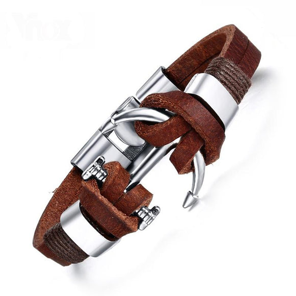 Men's Anchor Genuine Leather Bracelet - Sea People Depot