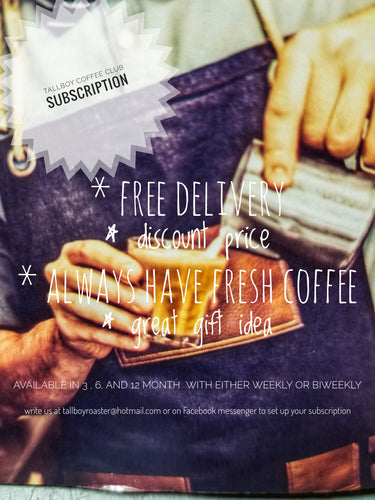 1 year biweekly  subscription to our dark roast Rwandan (dark & handsome)