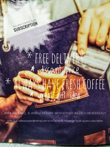 Half & half 3 month alternating subscription of our direct trade columbian and our dark roast Rwandan