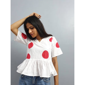 Red polka top