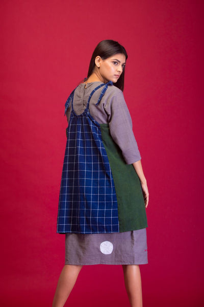 Blue checks apron dress