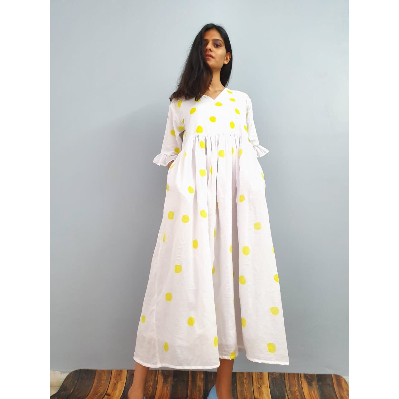 Lemon yellow polka dot maxi