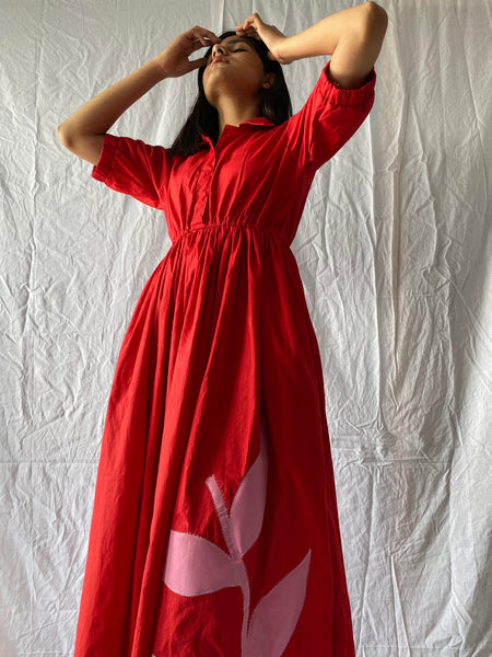Red big leaf maxi