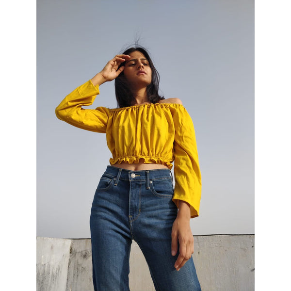 Mustard off-shoulder top