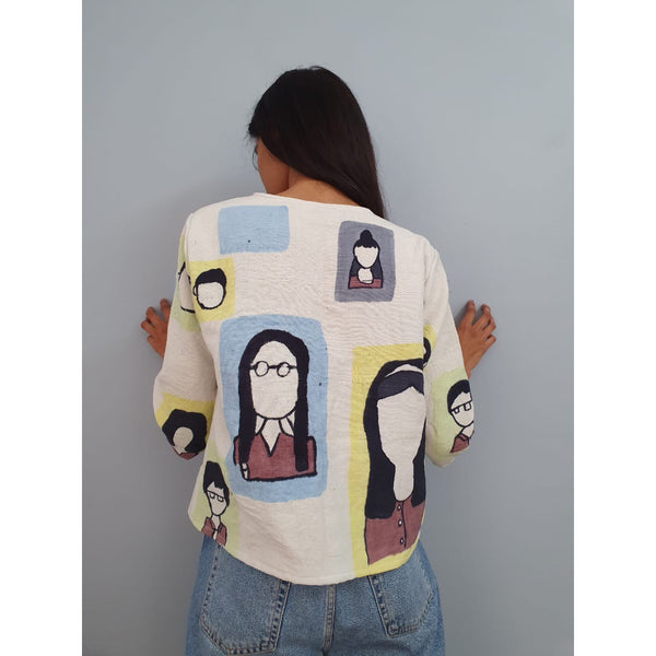 """Faces in the metro"" jacket"