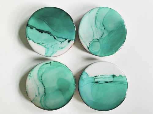Coasters Set of 4 - Alcohol Ink & Resin - Green
