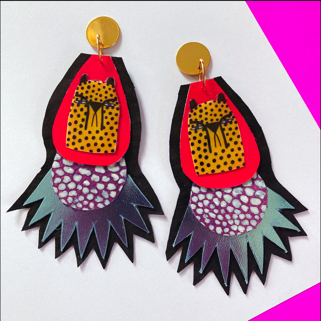 Yellow Cheetah Burst Earrings