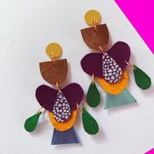 Tropical Flower in Purple Earrings