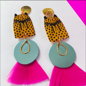 Yellow Cheetah Blue Disc Earrings