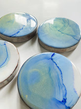 Coasters Set of 4 - Alcohol Ink & Resin - Blue and Gold