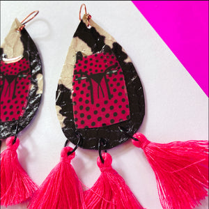 Pink Cheetah Tassels Earrings