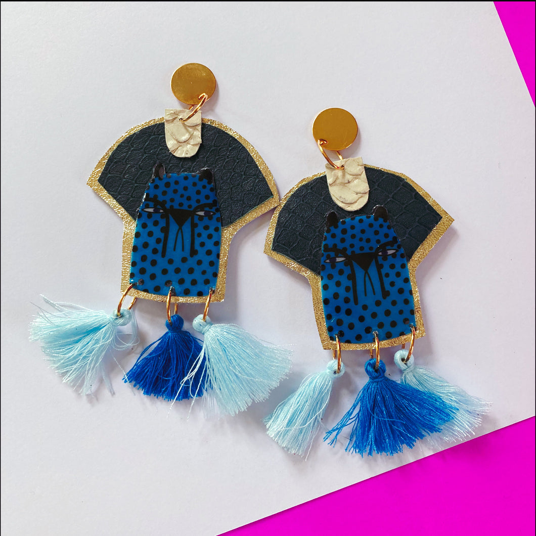 Pharaoh Blue Cheetah Earrings