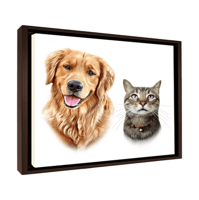 Custom Pet Portrait - 2 Pets – White - My Pooch Face