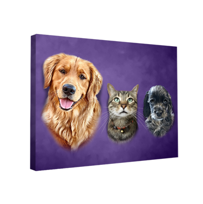 Custom Pet Portrait - 3 Pets - My Pooch Face
