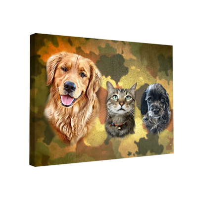 Custom Pet Portrait - 3 Pets – Camo - My Pooch Face